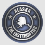 "Pegatinas de acero de ""Alaska"" (azules) Pegatina Redonda"