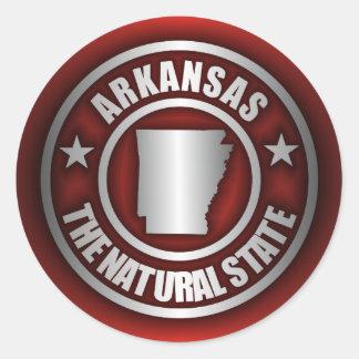 "Pegatinas de acero de ""Arkansas"" (rojos) Etiquetas Redondas"