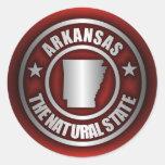 "Pegatinas de acero de ""Arkansas"" (rojos) Pegatina Redonda"