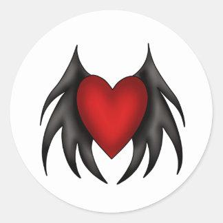 Pegatinas de alas rojas lindos góticos del corazón