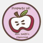 Pegatinas de Apple de la sala de clase Etiquetas Redondas