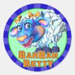 Pegatinas de Bah Bah Betty de la diversión Pegatina Redonda