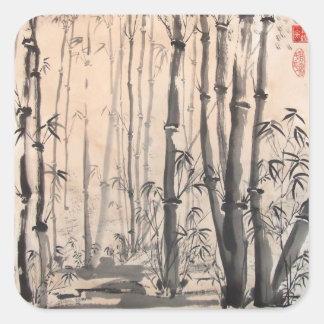 Pegatinas de bambú sombríos del bosque colcomania cuadrada