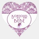 Pegatinas de Bonjour Bebe Calcomanía De Corazón Personalizadas