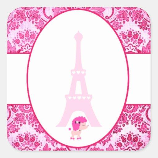 Pegatinas de Bonjour Bebe Pegatinas Cuadradas Personalizadas