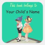 Pegatinas de /Bookplate del letrero de los niños Calcomanias Cuadradas