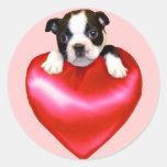 Pegatinas de Boston Terrier del amor Etiqueta Redonda