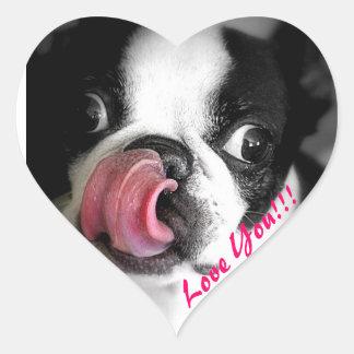 Pegatinas de Boston Terrier Pegatina En Forma De Corazón