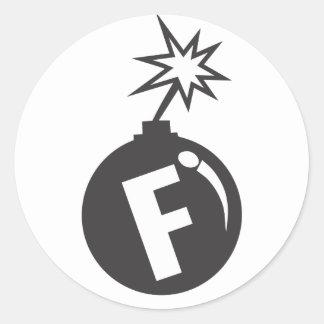 pegatinas de caída de la f-bomba etiqueta redonda
