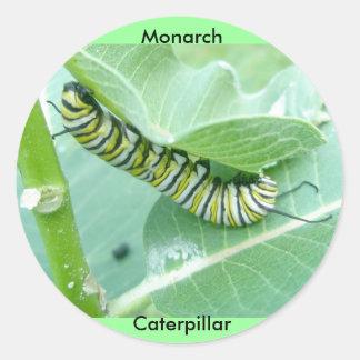 Pegatinas de Caterpillar de la mariposa de monarca Pegatina Redonda