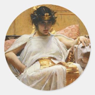 Pegatinas de Cleopatra del Waterhouse Etiquetas Redondas