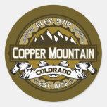 Pegatinas de cobre de la montaña pegatina redonda