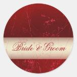 Pegatinas de color rojo oscuro de novia y del novi