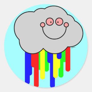 pegatinas de corrimiento del arco iris de la nube pegatina redonda