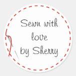 Pegatinas de costura del amor etiqueta redonda