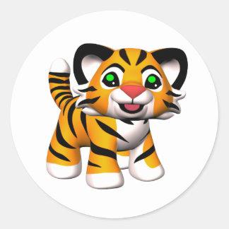 pegatinas de Cub de tigre del dibujo animado 3D Pegatina Redonda
