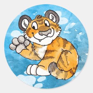 Pegatinas de Cub de tigre que agitan Pegatinas Redondas