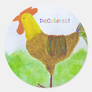 Pegatinas de DeColores del gallo Pegatina Redonda