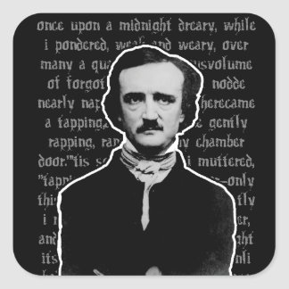 Pegatinas de Edgar Allan Poe Colcomanias Cuadradass