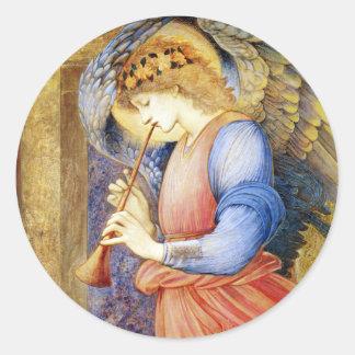 Pegatinas de Edward Burne-Jones del ángel del Pegatina Redonda