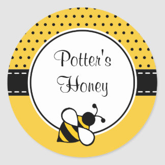 Pegatinas de encargo de la abeja etiquetas redondas