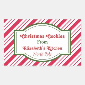 Pegatinas de encargo de la cocina del navidad pegatina rectangular