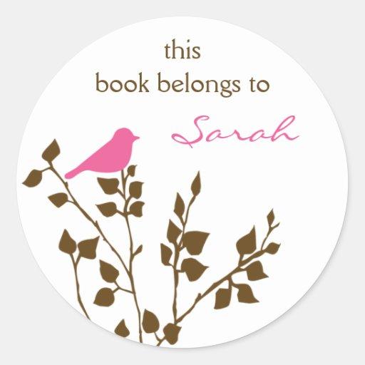 Pegatinas de encargo del Bookplate del pájaro