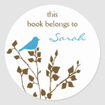 Pegatinas de encargo del Bookplate del pájaro en a Pegatina Redonda