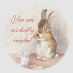 Pegatinas de encargo del conejo de conejito de Bea Pegatinas Redondas