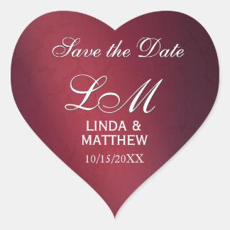 Pegatinas de encargo del logotipo del boda - en pegatina en forma de corazón