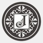 Pegatinas de encargo del monograma J en blanco y Etiquetas Redondas