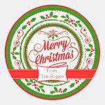 Pegatinas de encargo festivos del navidad etiqueta redonda