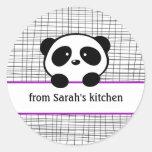 Pegatinas de enlatado de la panda negra púrpura de pegatina redonda