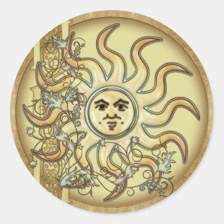Pegatinas de estilo celta del diseño de Litha Sun Pegatinas Redondas