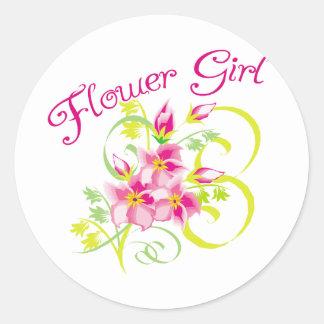 Pegatinas de Flowergirl del paraíso Pegatina Redonda