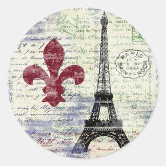Pegatinas de Francia de la torre Eiffel Pegatina Redonda