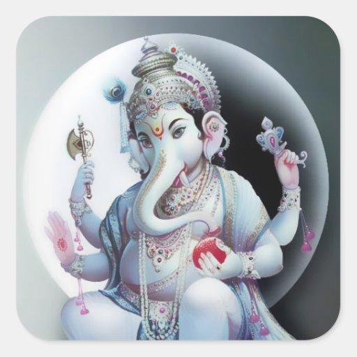 Pegatinas de Ganesha - versión 9 Pegatina Cuadrada