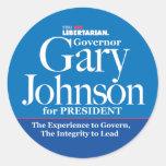 Pegatinas de Gary Johnson Etiquetas Redondas