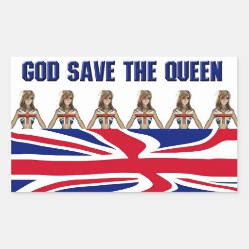 Pegatinas de God Save the Queen Rectangular Pegatina