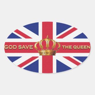 Pegatinas de God Save the Queen Pegatina Ovalada