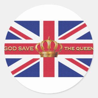 Pegatinas de God Save the Queen Pegatina Redonda