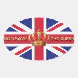 Pegatinas de God Save the Queen Pegatinas Ovaladas