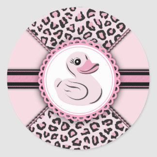 Pegatinas de goma rosados elegantes de la fiesta pegatina redonda