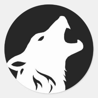 Pegatinas de grito del lobo pegatina redonda