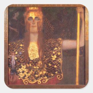 Pegatinas de Gustavo Klimt Minerva Pallas Athena Pegatina Cuadrada