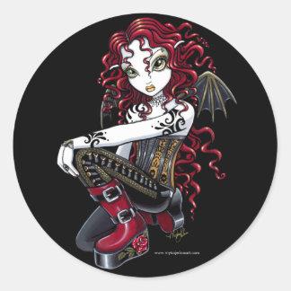 Pegatinas de hadas del arte del tatuaje gótico del pegatina redonda