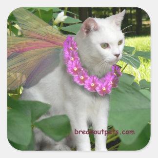 Pegatinas de hadas del gato pegatina cuadrada