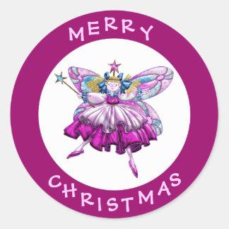 Pegatinas de hadas del navidad de la joya del pegatina redonda