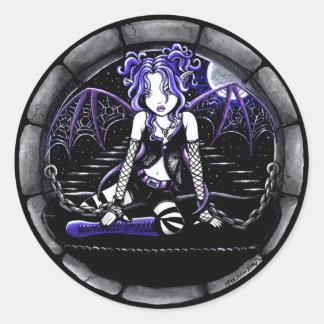 """Pegatinas de hadas góticos encadenados """"azul"""" del pegatina redonda"""