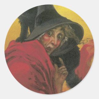Pegatinas de Halloween - bruja Pegatina Redonda